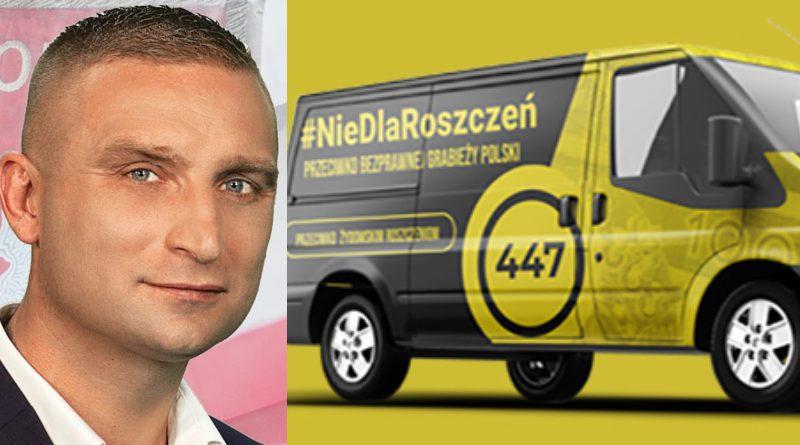 "Robert Bąkiewicz i bok ""roszczeniobusa""/fot. Facebook Robert Bąkiewicz/zrzutka.pl (kolaż)"