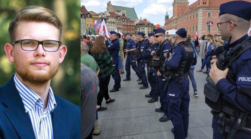 Tomasz Kalinowski i policja na Marszu Suwerenności/fot. Facebook Tomasz Kalinowski/Dominik Cwikła ⓒ (kolaż)